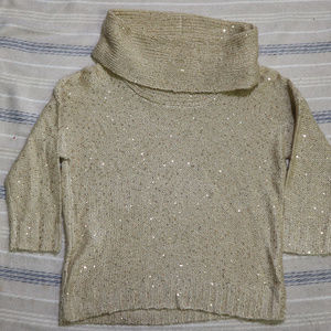 ROZ & ALI 3/4 Sleeve Gold Shimmer Cowl Sweater